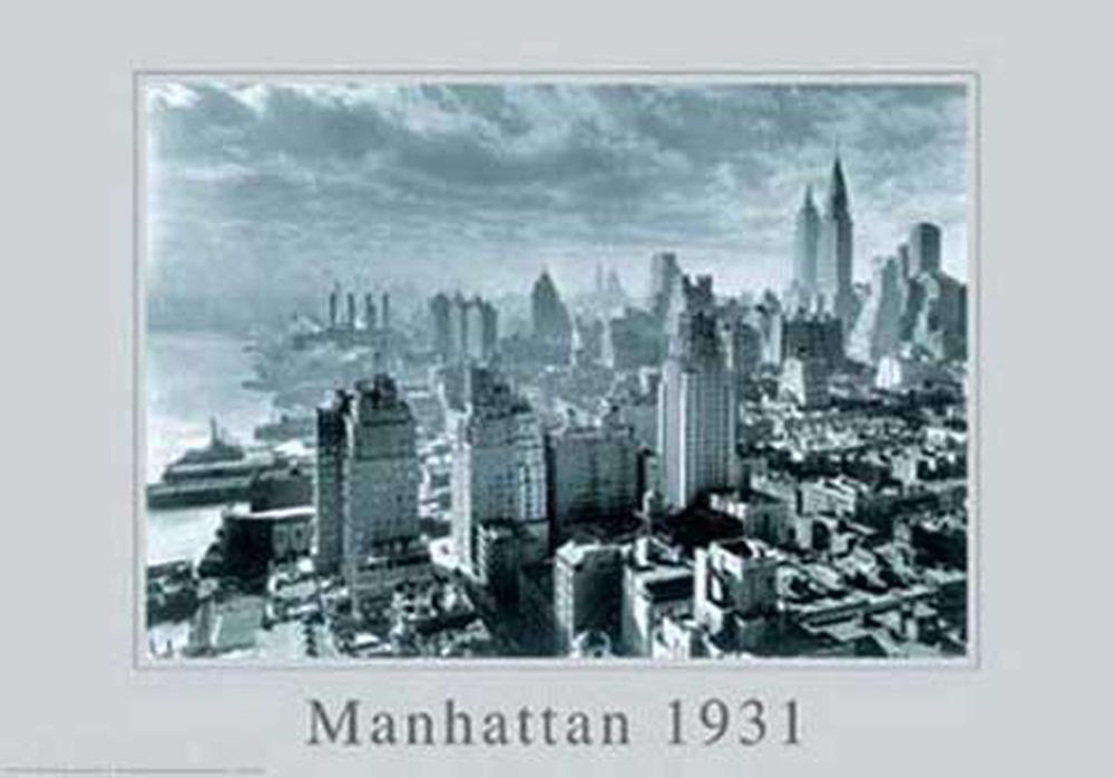 new york manhattan skyline 1931 poster 91 5x61. Black Bedroom Furniture Sets. Home Design Ideas