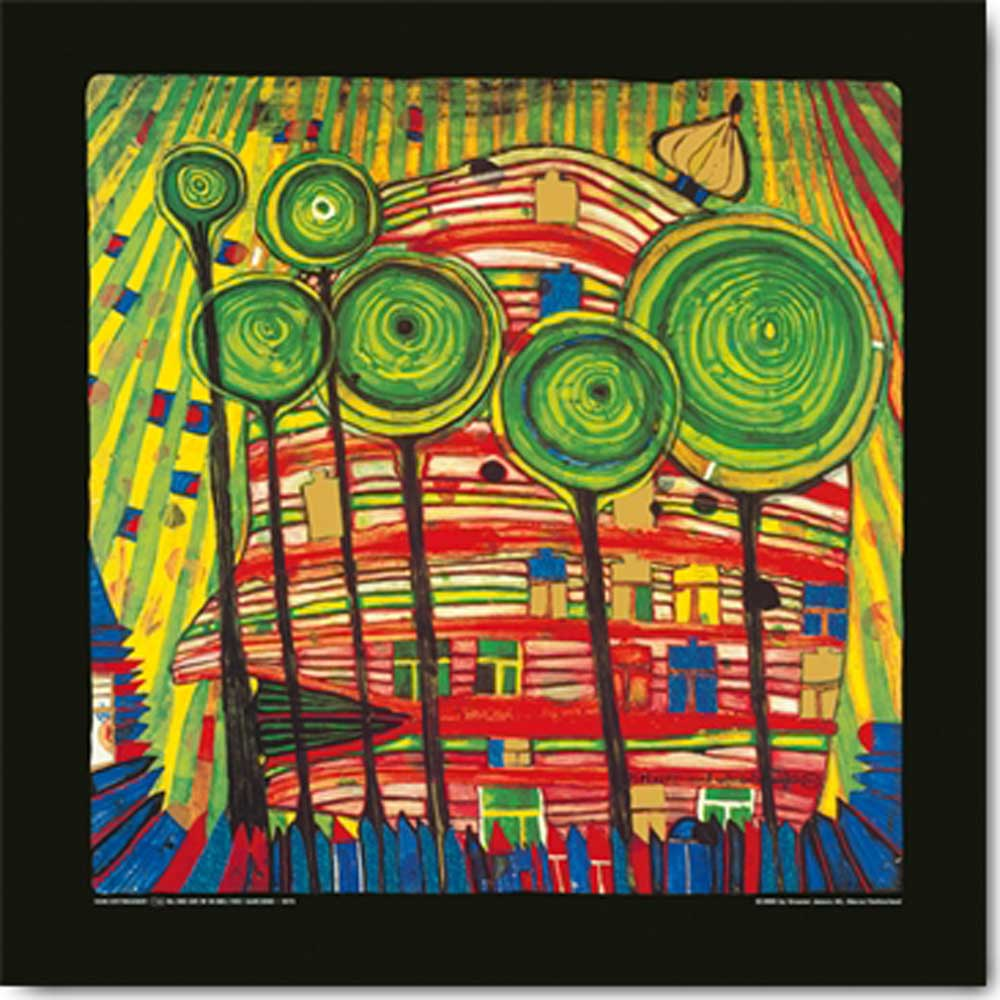 friedensreich hundertwasser blobs grow in beloved gardens kunstdruck 48x48. Black Bedroom Furniture Sets. Home Design Ideas