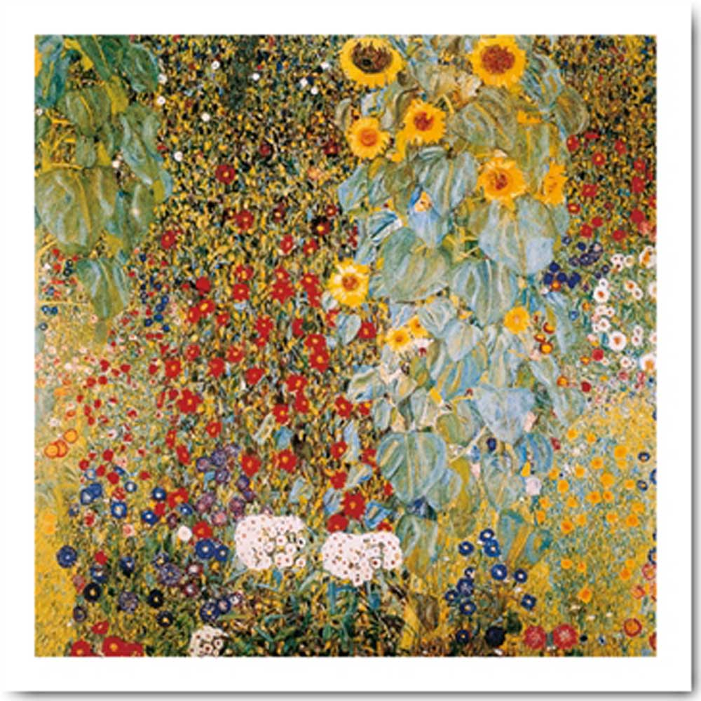 gustav klimt il giardino di campagna con girasoli kunstdruck 30x30. Black Bedroom Furniture Sets. Home Design Ideas