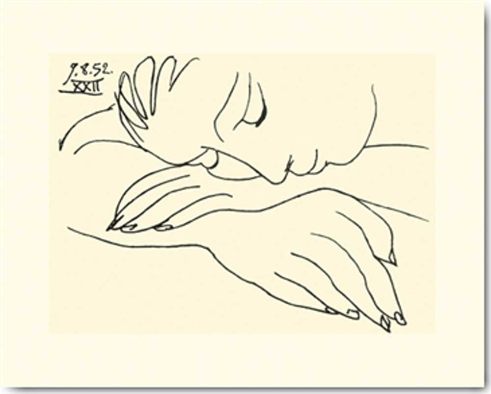 pablo picasso sleeping woman kunstdruck 30x24. Black Bedroom Furniture Sets. Home Design Ideas