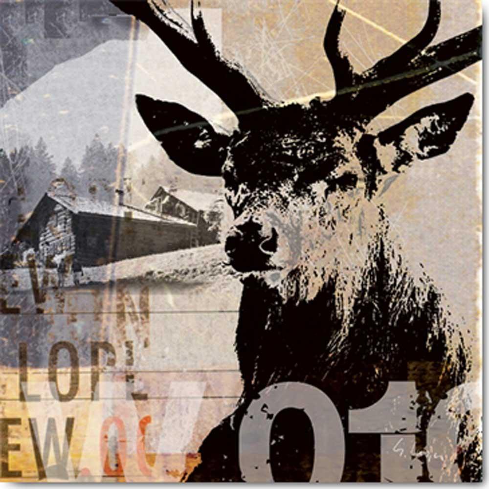 Gery luger rotwild ii kunstdruck 70x70 for Hirschbilder modern