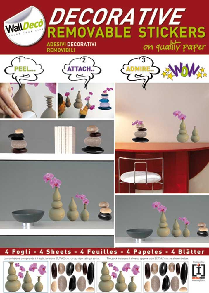 Zen - Steine und Vasen - Decosticker Aufkleber - Wand-Sticker - A3