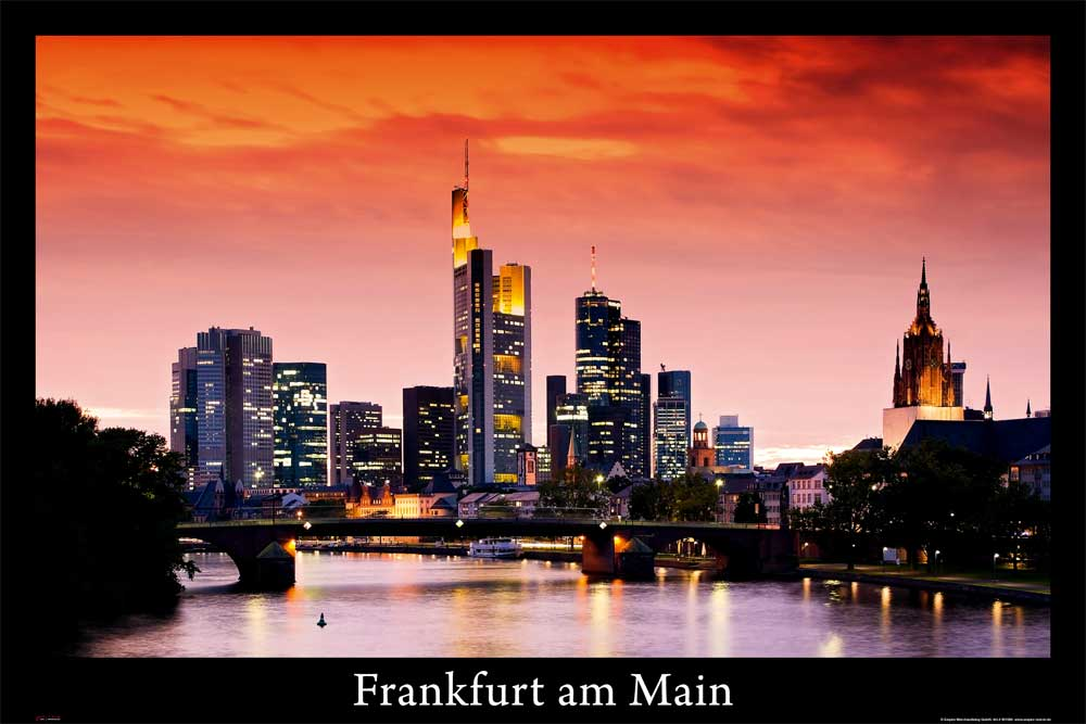 deutsche st dte frankfurt am main skyline poster 91 5x61. Black Bedroom Furniture Sets. Home Design Ideas