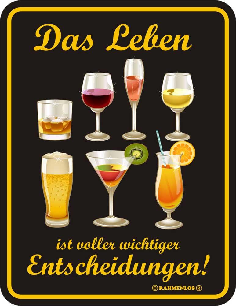 Alkohol - das Leben ist voller - Blechschild - Fun