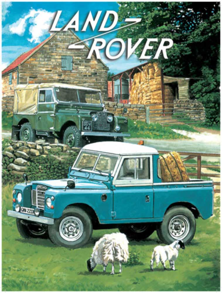 trevor mitchell land rover pick up blechschild 15x20. Black Bedroom Furniture Sets. Home Design Ideas