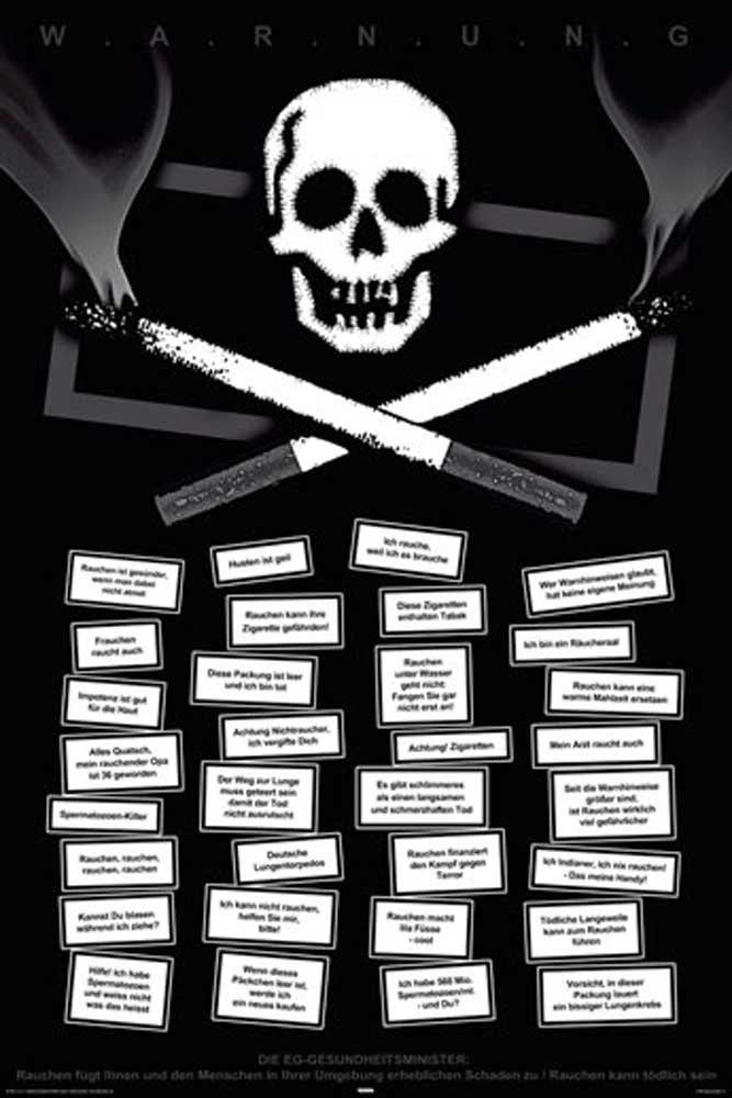 Zigaretten - Rauchen kann tödlich sein - Poster - 61x91,5