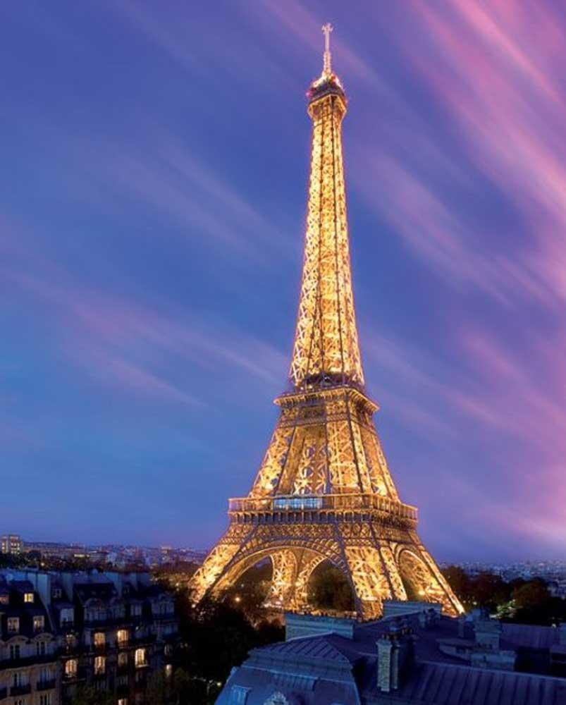 Paris eiffelturm am abend mini poster 40x50 for Paris paris paris