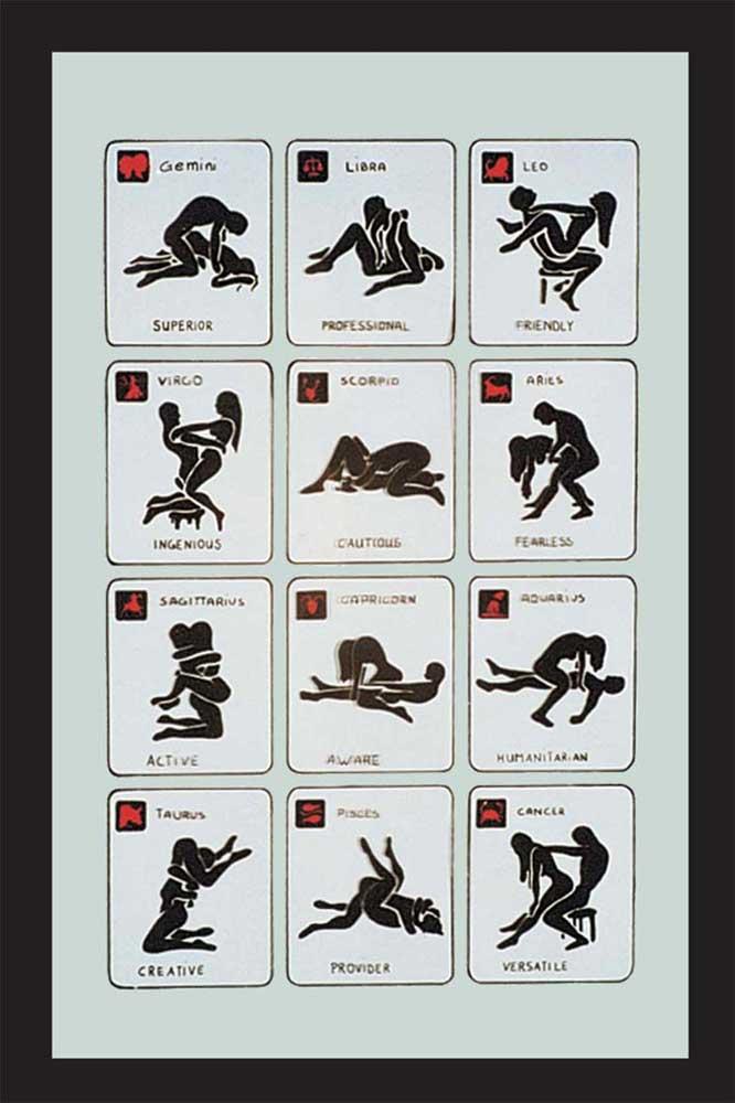 Fun - Sexstellungen - Bedruckter Spiegel - 20x30