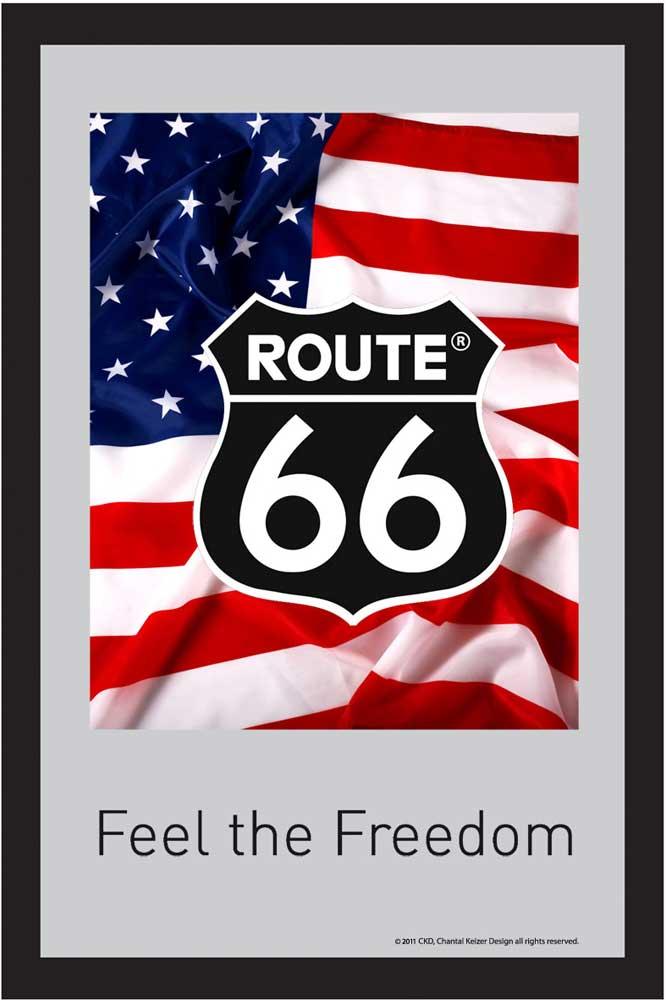 route 66 amerikanische flagge bedruckter spiegel 20x30. Black Bedroom Furniture Sets. Home Design Ideas