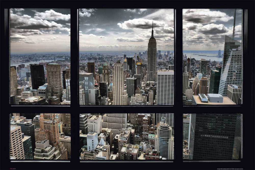 New york skyline window poster 91 5x61 for Bild fenster new york