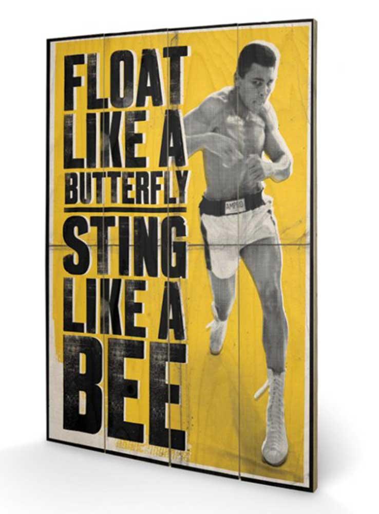 muhammad ali float like a butterfly wooden wallart 40x59x1 2. Black Bedroom Furniture Sets. Home Design Ideas
