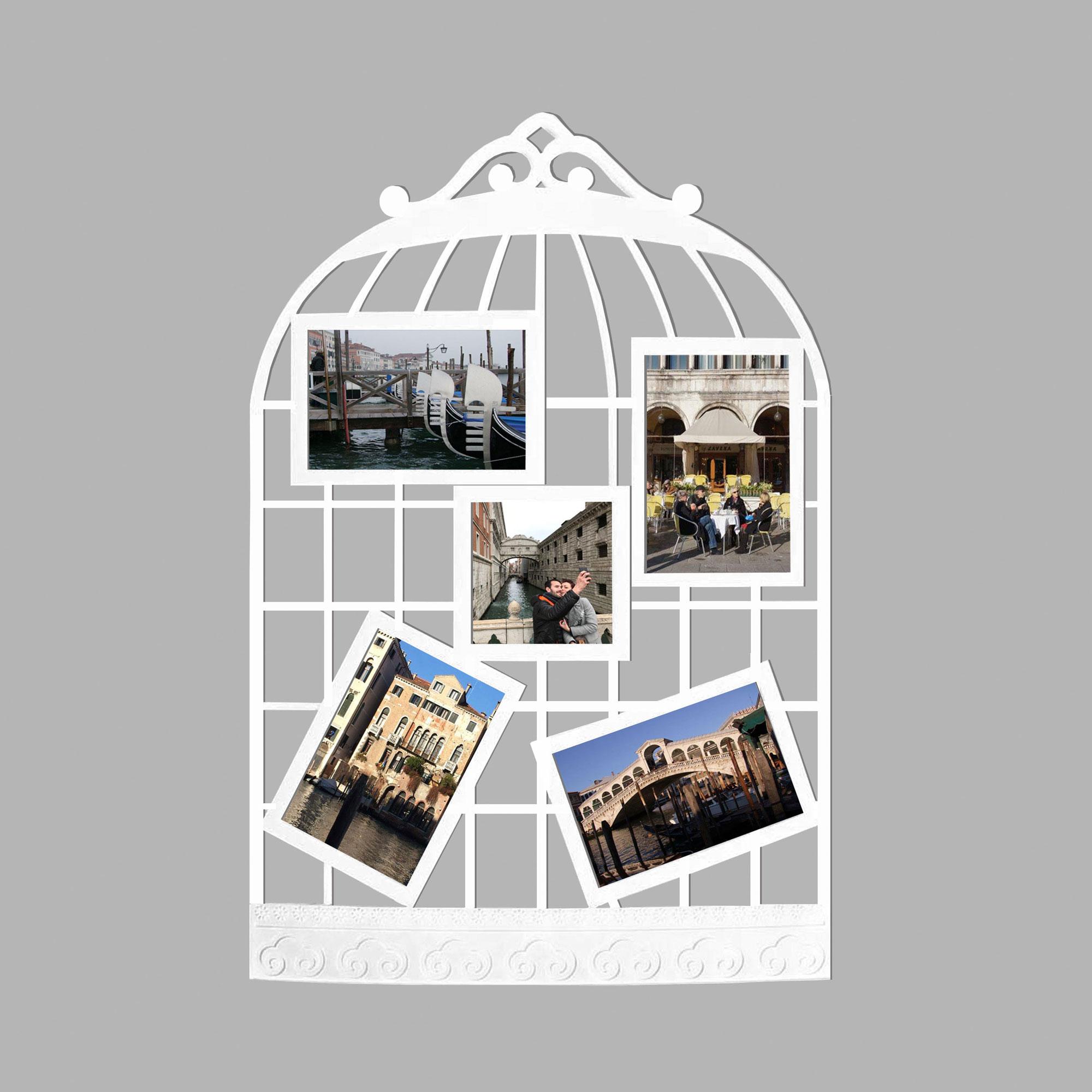 Collage Bilderrahmen - Vogelkäfig weiß - Wechselrahmen - 38x57