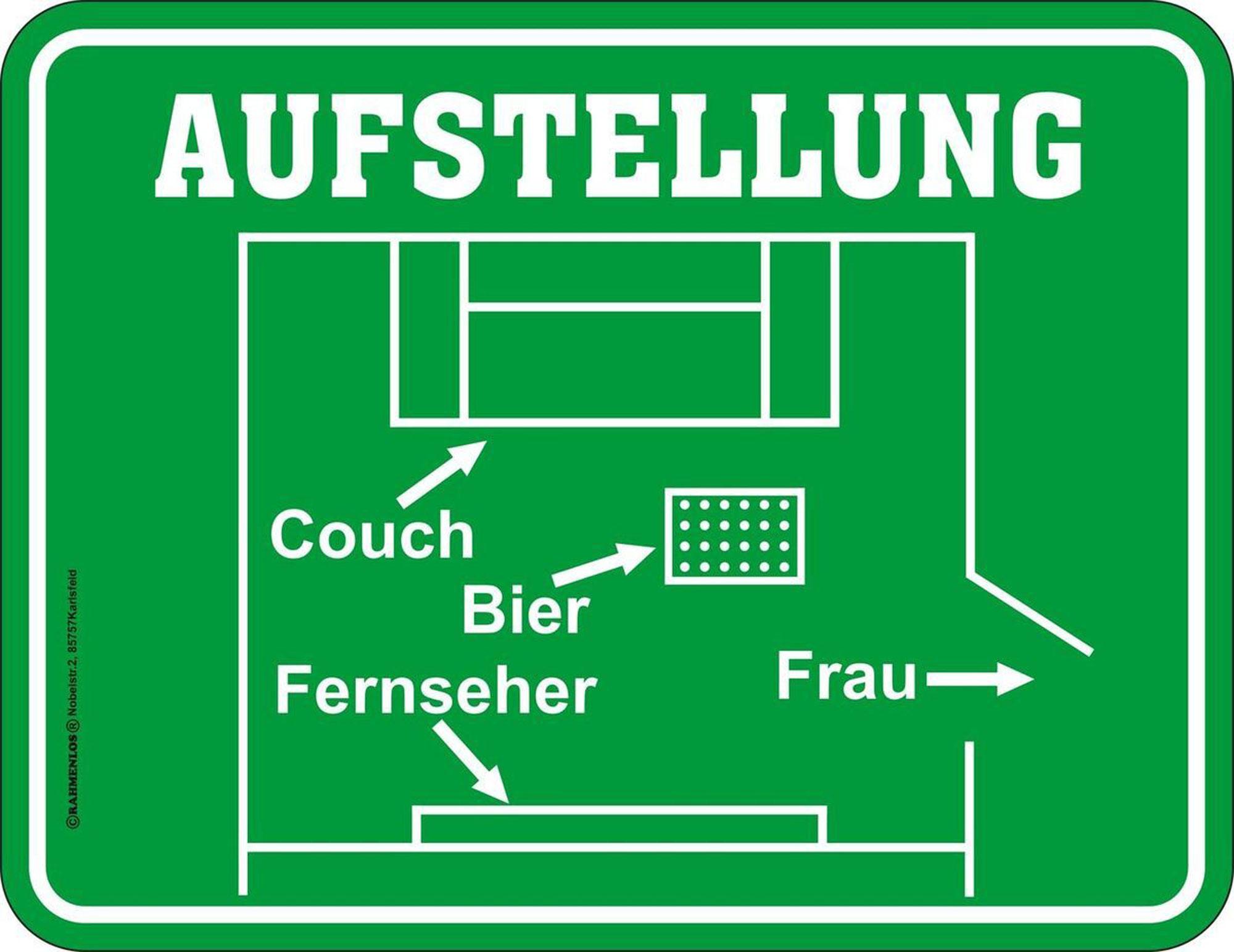 Aufstellung Fussball Couch Bier Fernseher Frau Magnete 9x7