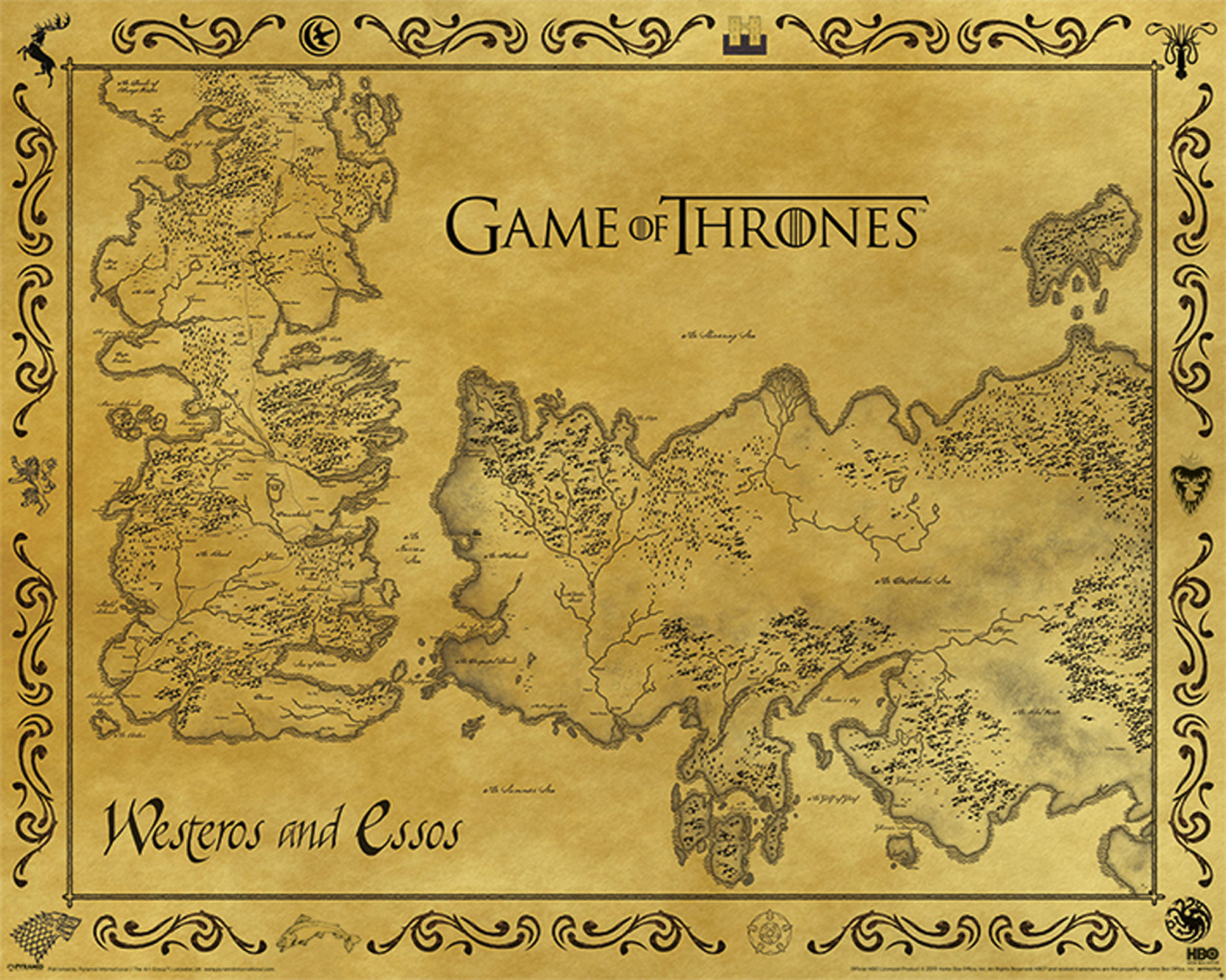 Game Of Thrones - Antique Map - Mini-Poster - 50x40 Map Of Game Thrones Poster on