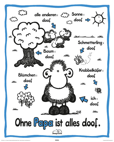 sheepworld ohne papa mini poster 40x50. Black Bedroom Furniture Sets. Home Design Ideas