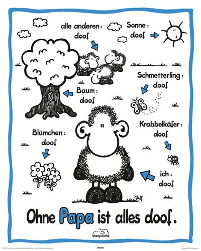 sheepworld ohne papa mini poster 40x50. Black Bedroom Furniture Sets. Home Design Ideas