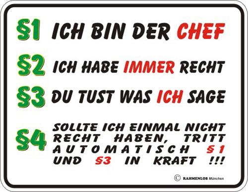 Ich Bin Der Chef Blech Schild Spruch Fun Schilder 22x17