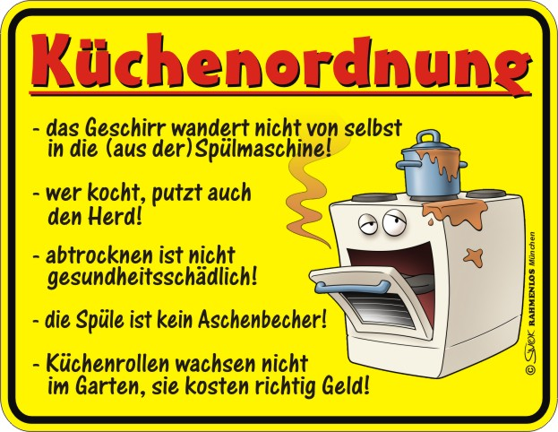 k chenordnung blech schild spruch fun schilder 22x17. Black Bedroom Furniture Sets. Home Design Ideas