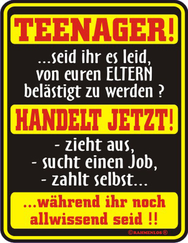 Teenager Handelt Jetzt Blechschild Fun Schilder 17x22