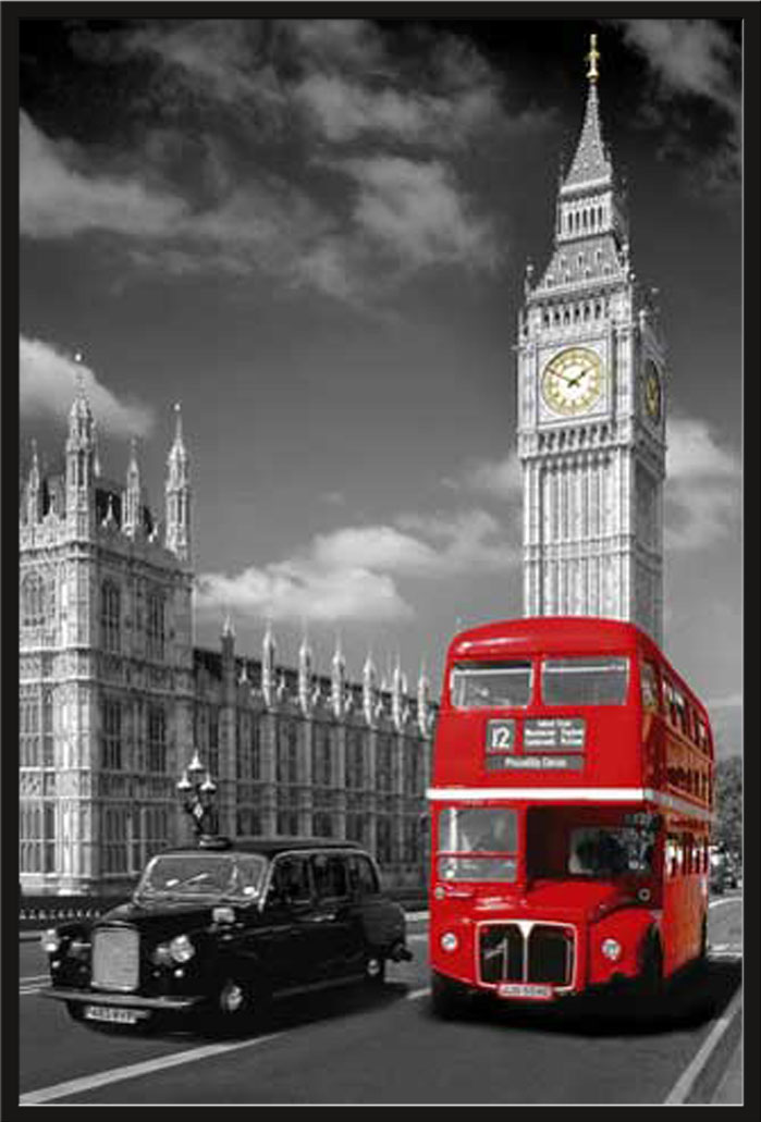 london bus taxi colourlight big ben poster 61x91 5. Black Bedroom Furniture Sets. Home Design Ideas
