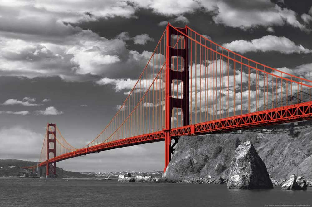 san francisco golden gate bridge colorlight poster 91 5x61. Black Bedroom Furniture Sets. Home Design Ideas