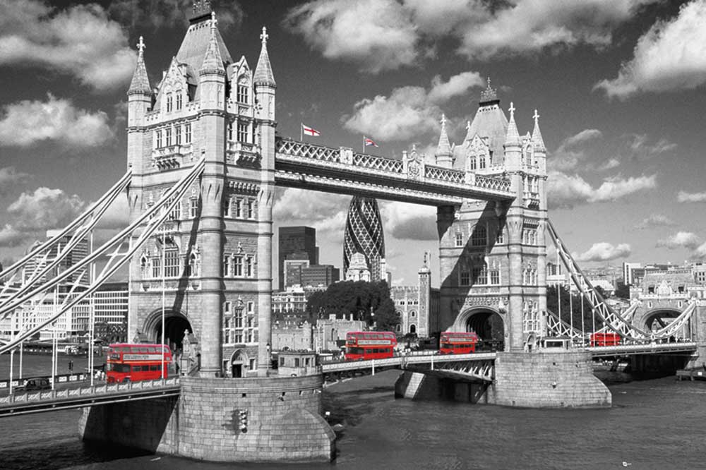 London - Poster - Westminster, Bridge - Busses