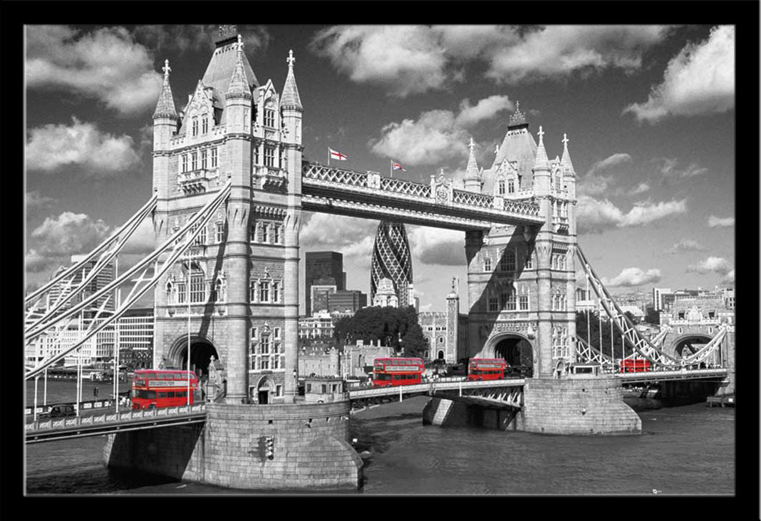 london westminster bridge busses poster 91 5x61. Black Bedroom Furniture Sets. Home Design Ideas