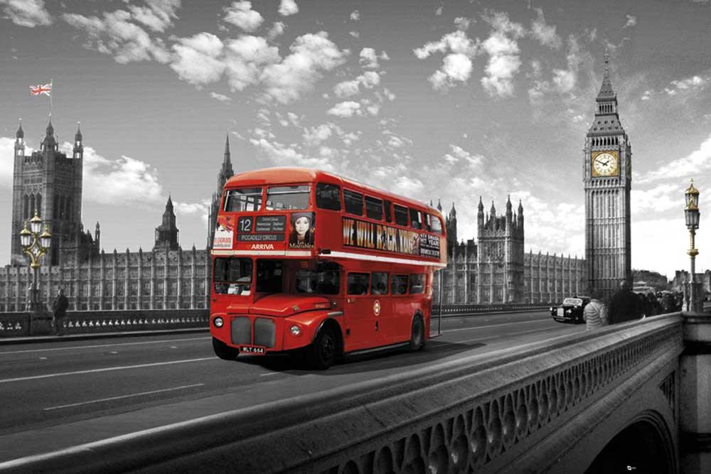 london westminster bridge bus poster 91 5x61. Black Bedroom Furniture Sets. Home Design Ideas