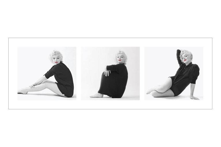 marilyn monroe strickjacke triptych kunstdruck 95x33. Black Bedroom Furniture Sets. Home Design Ideas