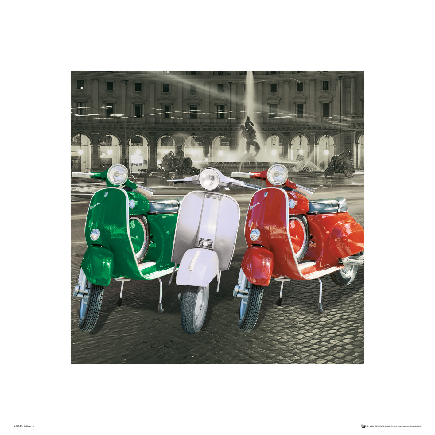 italien vespas italien flagge kunstdruck 40x40. Black Bedroom Furniture Sets. Home Design Ideas