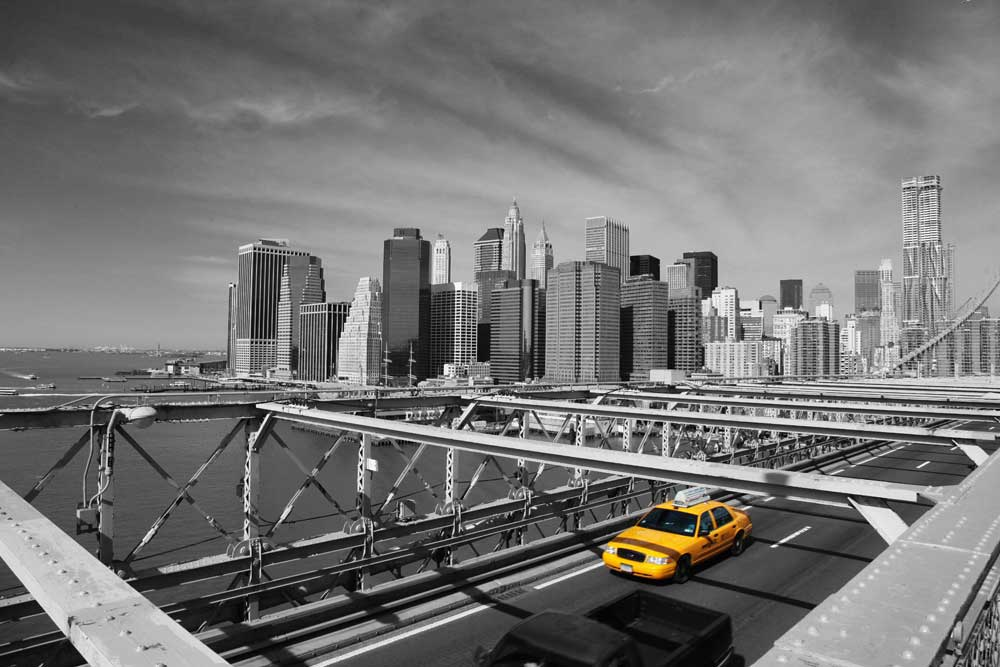 new york taxi on bridge poster 91 5x61. Black Bedroom Furniture Sets. Home Design Ideas