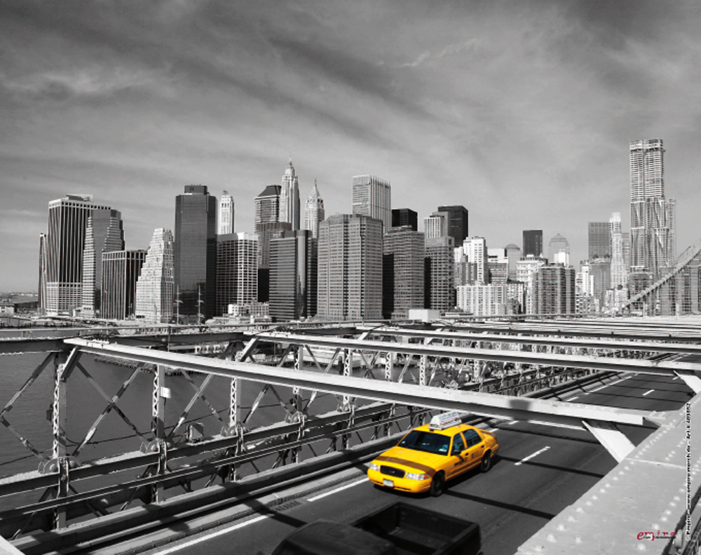 new york taxi on bridge mousepad mousepad 24x19. Black Bedroom Furniture Sets. Home Design Ideas