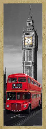 Städte Fahrzeuge Slim-Poster Plakat Druck Grösse 30,5x91,5 Red Bus London