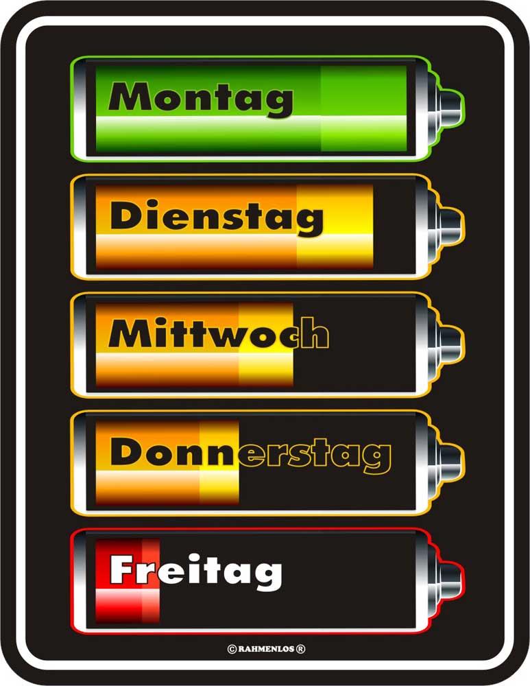 Batterien Wochentage Blechschild Fun Schilder 17x22