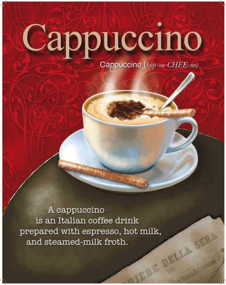 Cappuccino - Italian Coffee Drink - Blechschild - 50x70