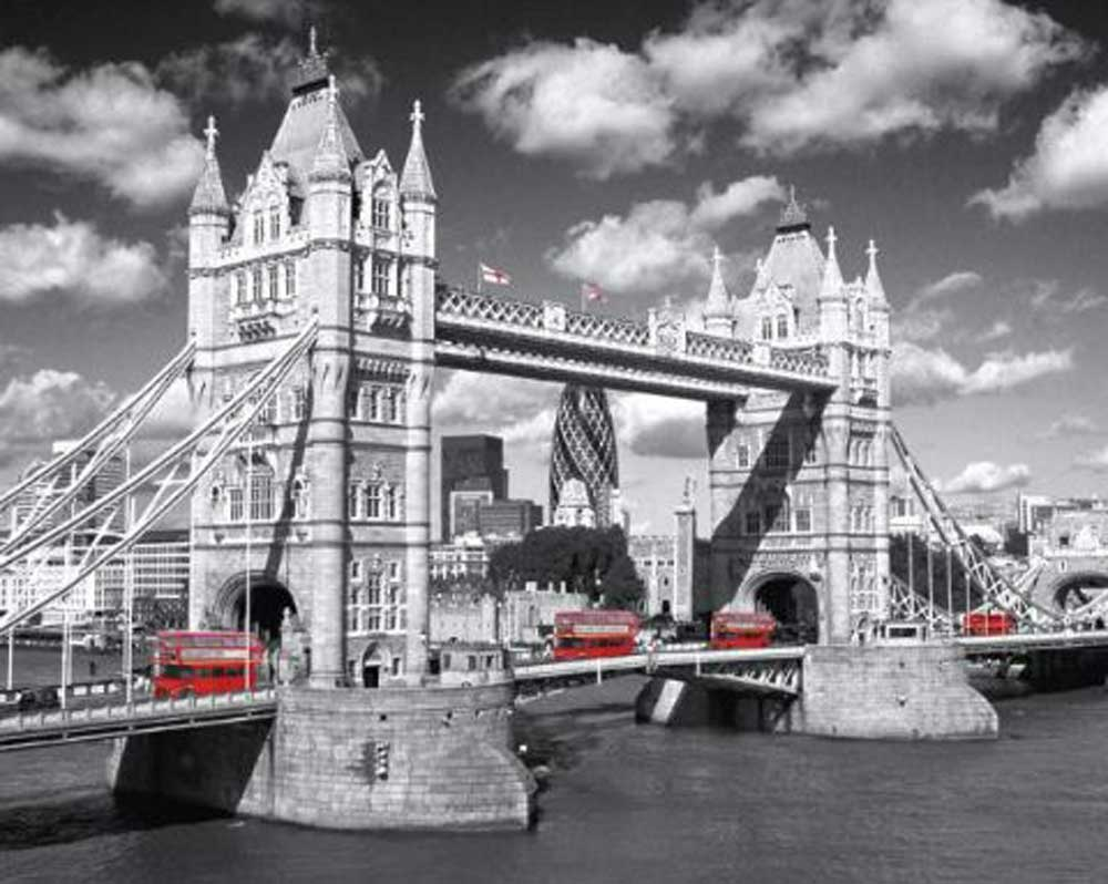 london tower bridge buses mini poster 50x40. Black Bedroom Furniture Sets. Home Design Ideas