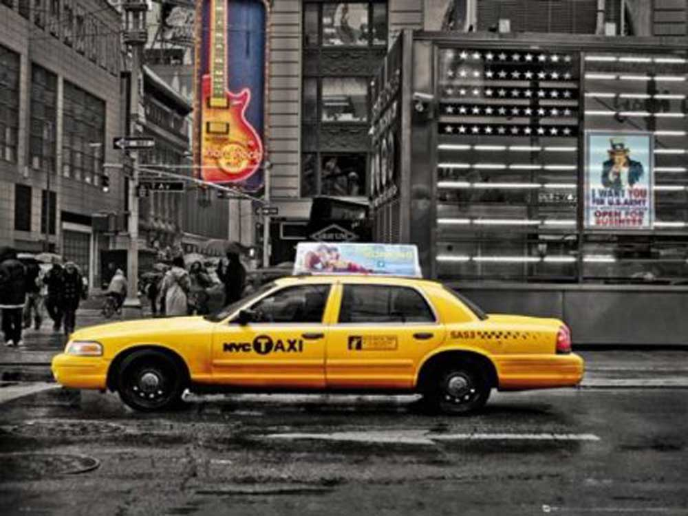 new york 7th avenue taxi mini poster 50x40. Black Bedroom Furniture Sets. Home Design Ideas