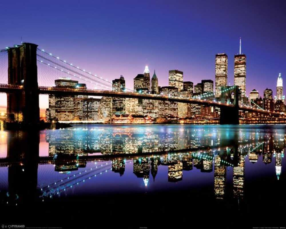 new york brooklyn bridge col mini poster 50x40. Black Bedroom Furniture Sets. Home Design Ideas