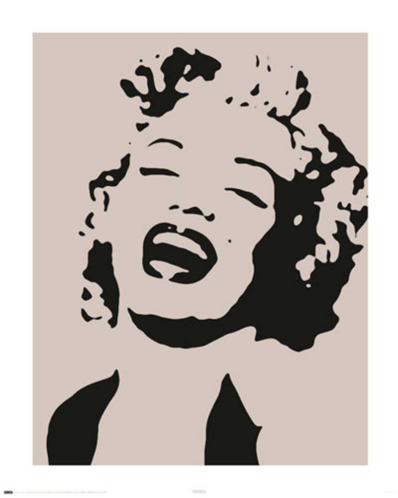 marilyn monroe stencil mini poster 40x50. Black Bedroom Furniture Sets. Home Design Ideas