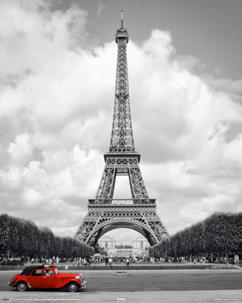 paris rotes auto mini poster 40x50. Black Bedroom Furniture Sets. Home Design Ideas