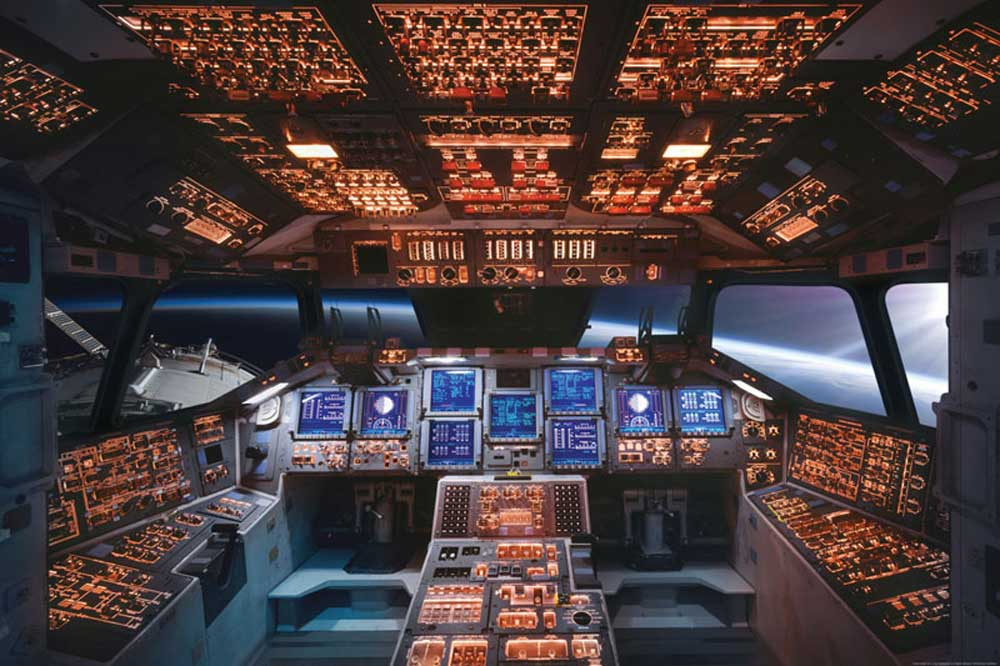 Educational - Bildung - Poster - Space Shuttle Cockpit Columbia Raumschiff