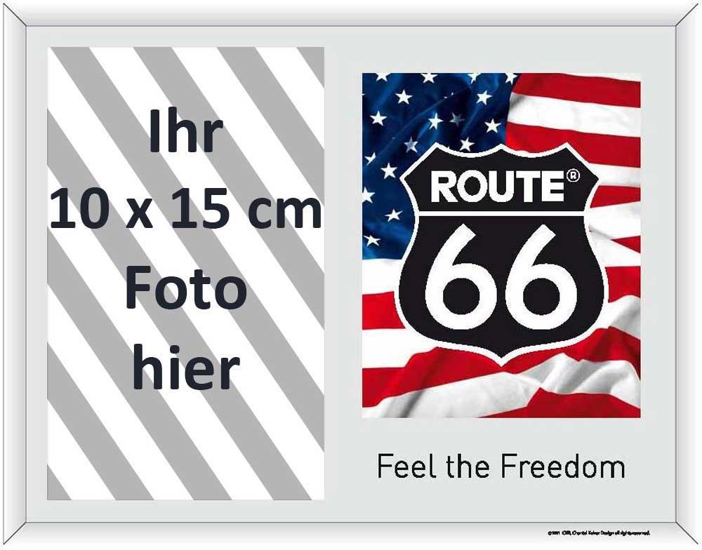 route 66 american flag and logo fotorahmen spiegel. Black Bedroom Furniture Sets. Home Design Ideas