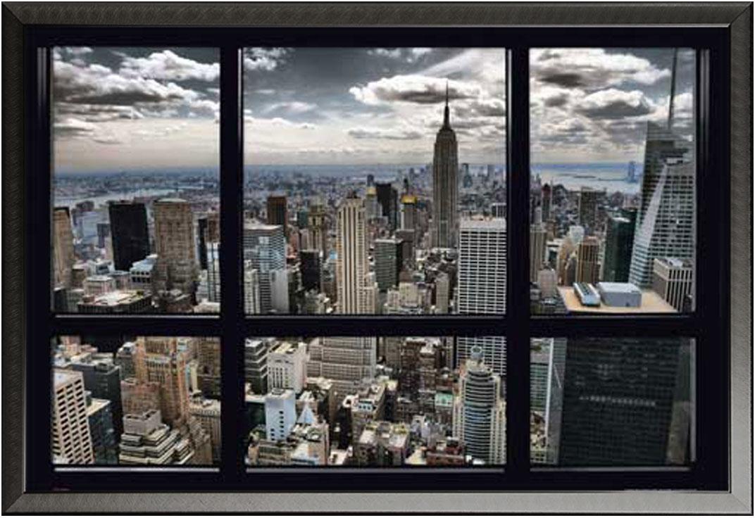 new york skyline window poster 91 5x61. Black Bedroom Furniture Sets. Home Design Ideas