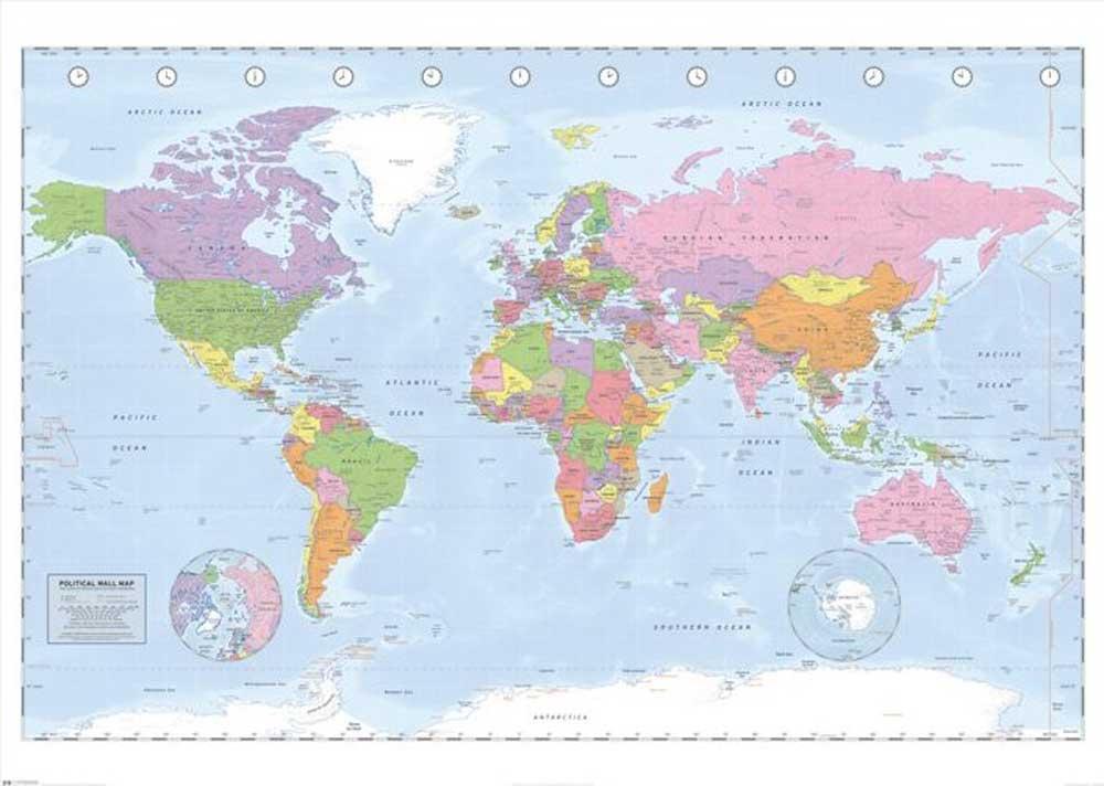 landkarten world map miller projection giant poster 140x100. Black Bedroom Furniture Sets. Home Design Ideas