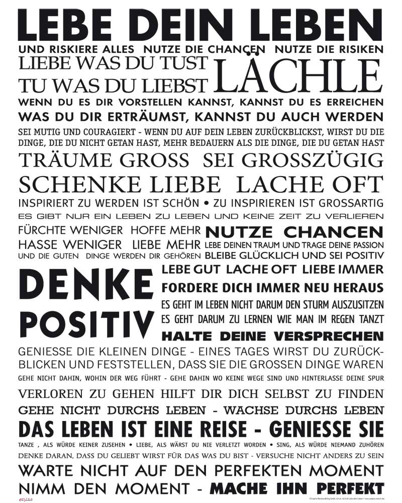 Motivational - Mini-Poster - Lebe Dein Leben
