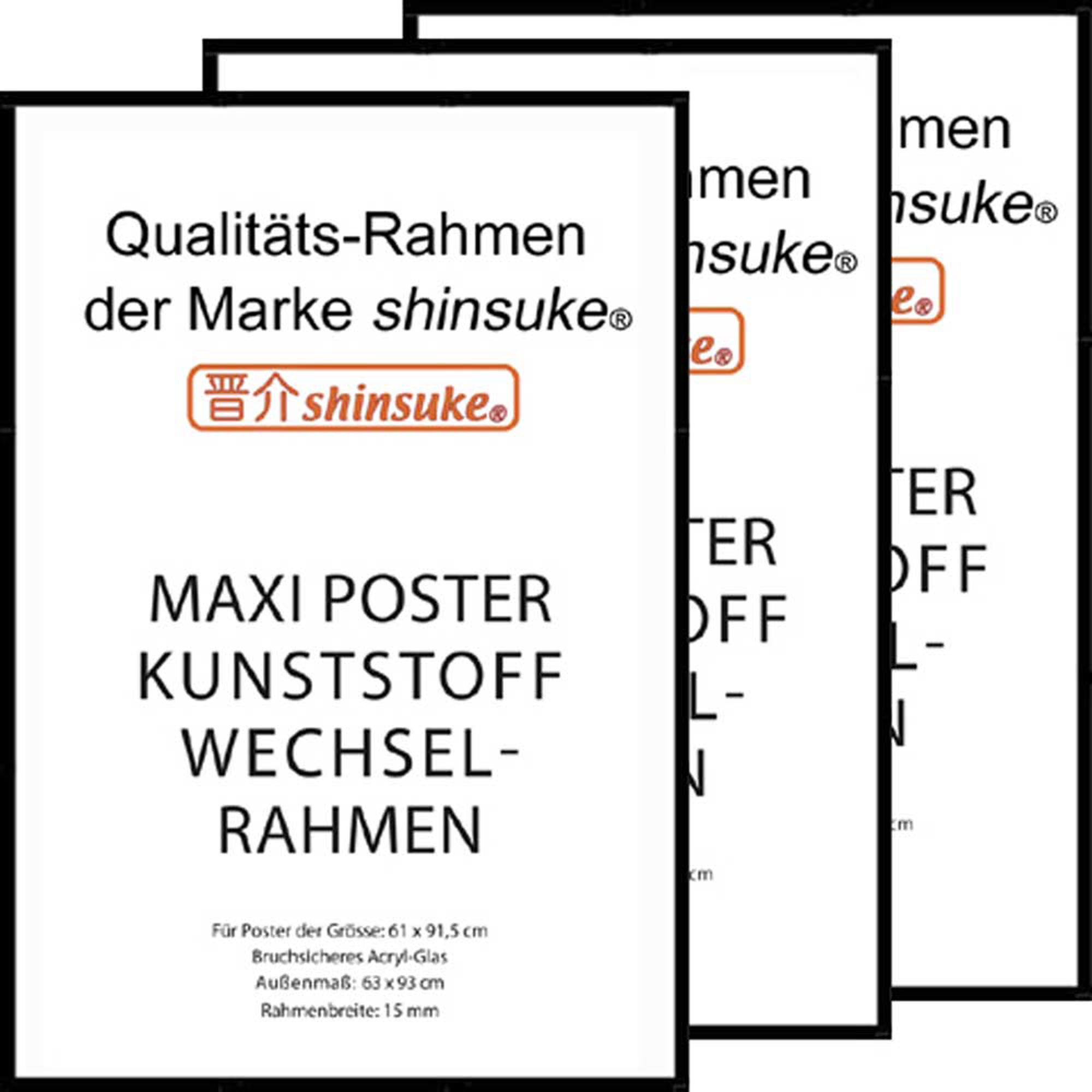 rahmen kunststoff maxi 61x91 5 3er set schwarz. Black Bedroom Furniture Sets. Home Design Ideas