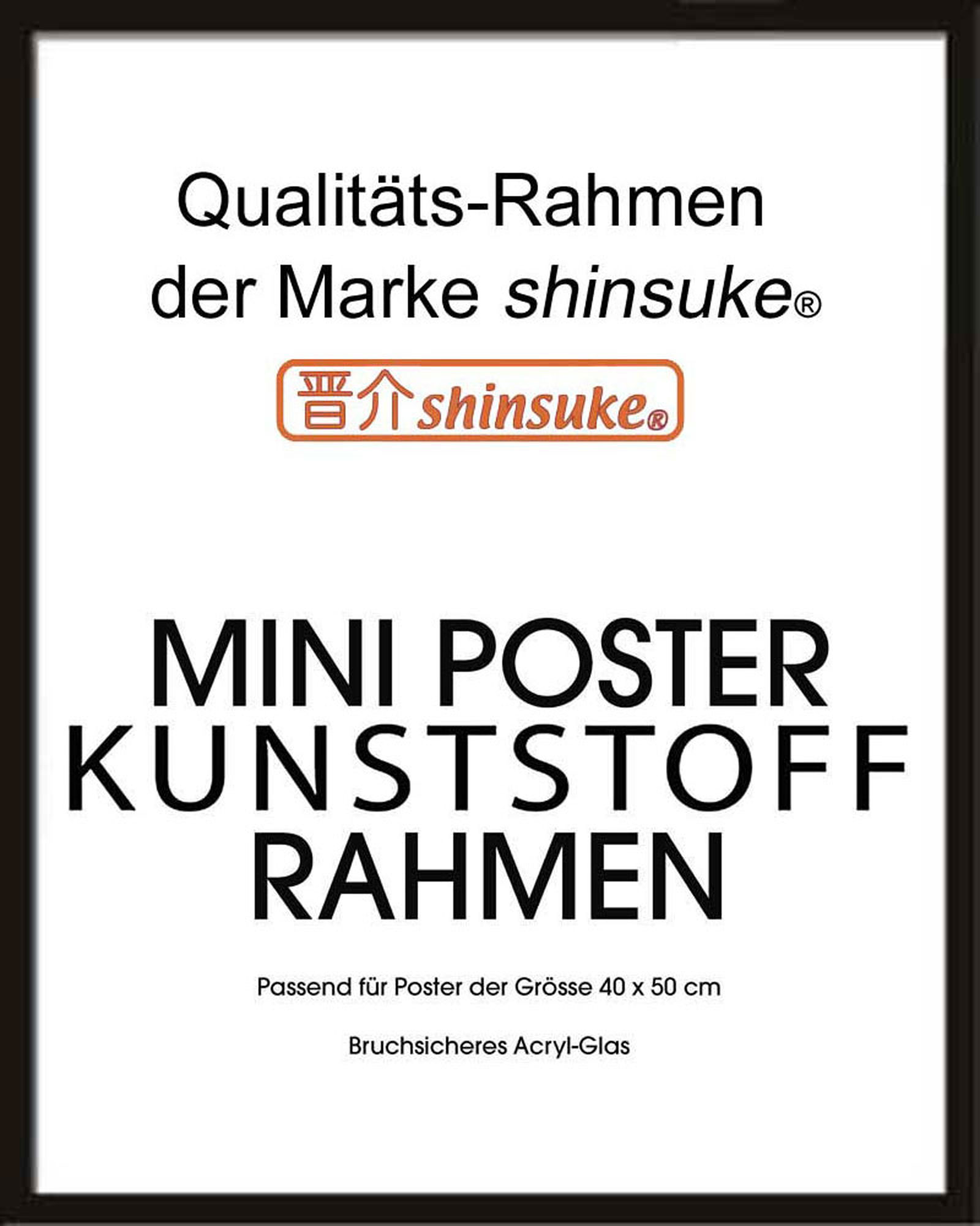 Rahmen Miniposter 40x50 Cm 15mm Kunststoff Schwarz Wechselrahmen
