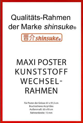 Rahmen Maxi 61x91,5 cm - 15mm Kunststoff Rot - Wechselrahmen - 63x93,5