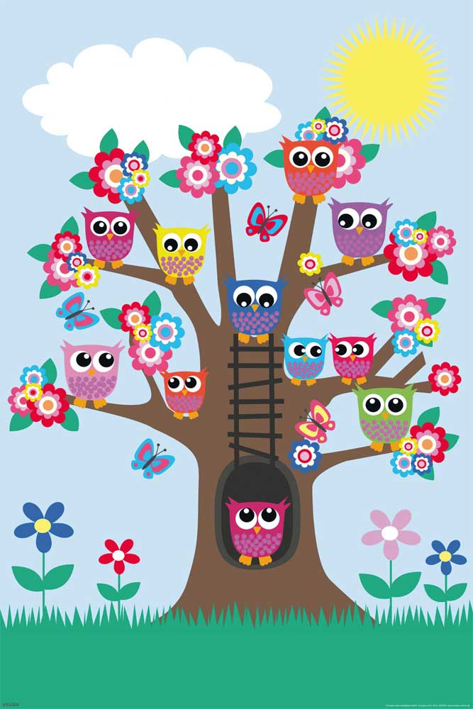 Eulen - Poster - Eulenbaum / Owls in a tree