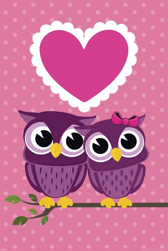 Eulen Verliebte Eulen Owls In Love Poster 61x91 5